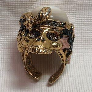 Roberto Cavalli Gold Skull Ring